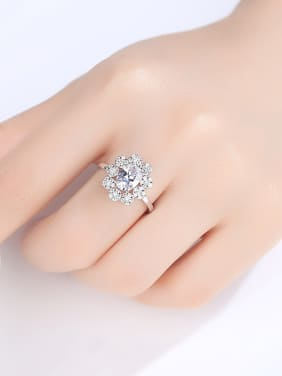 925 Sterling Silver With Platinum Plated Delicate Flower  Free Size  Rings
