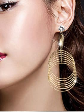 Copper With Gold Plated Exaggerated Round Earrings