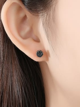 Copper With  Cubic Zirconia Delicate Round Stud Earrings