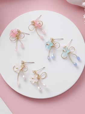 Alloy With Rose Gold Plated Cute Flower Bow  Stud Earrings