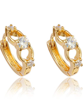 Creative 18K Gold Plated Geometric Shaped Zircon Clip Earrings
