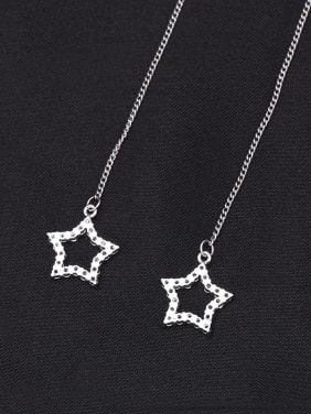 Copper With Platinum Plated Simplistic Star Threader Earrings