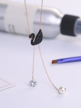 Fashion Black Swan Shell Pearl Cubic Zircon Pendant 925 Silver Necklace