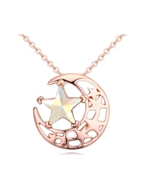 Fashion Rose Gold Plated Moon Swarovski Crystal Star Alloy Necklace