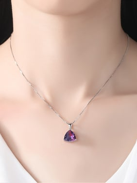 Sterling silver Rainbow semi-precious stones Triangle necklace