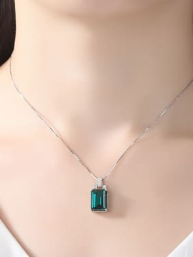 Sterling Silver Green Blue Pendant Natural Gemstone Necklace