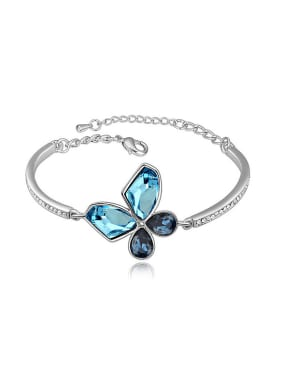 Simple Swarovski Crystals Flowery Alloy Bangle