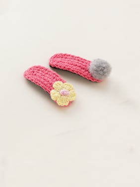 Alloy With Platinum Plated Cute Wool Weaving Flower Barrettes & Clips