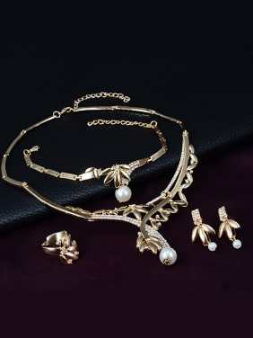 Alloy Imitation-gold Plated Fashion Artificial Pearl Leaf-shaped Four Pieces Jewelry Set