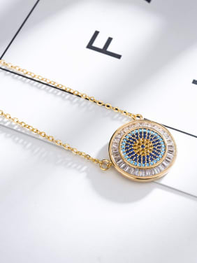 Fashion simple color AAA zircon circular pendant necklace