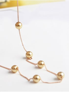 Alloy With 18k Rose Gold Plated Fashion imitation pearl  Necklaces