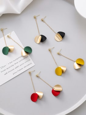 Alloy With Gold Plated Simplistic Arc Wafer  Threader Earrings