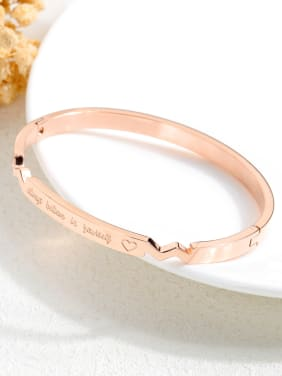 Stainless Steel With Rose Gold Plated Simplistic Geometric With always believe in yourself words Bangles
