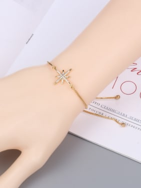 Copper With Cubic Zirconia Simplistic  Eight-Pointed Star Adjustable  Bracelets
