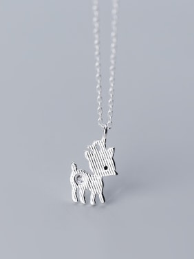 925 Sterling Silver With Silver Plated Simplistic Plum Deer Necklaces