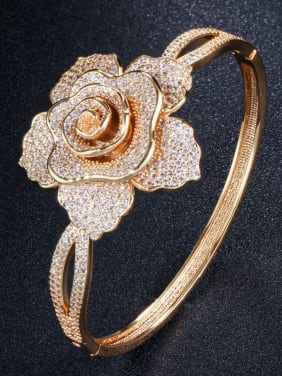 Copper With Cubic Zirconia Delicate Flower Bangles