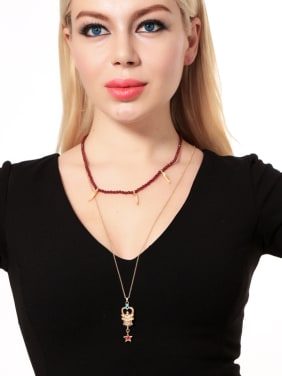 Retro Style Double Layer Fashion Women Alloy Necklace