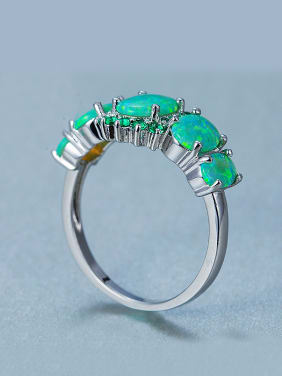 Exaggerated Green Opal Stones Rhinestones Ring