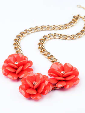Flower-shape Alloy Sweater Necklace