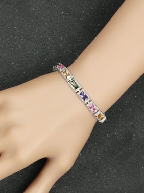 Fashion Rectangle Color Zircons Bracelet