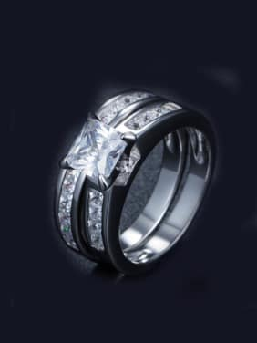 Double Lines Geometric AAA Zircons Silver Ring