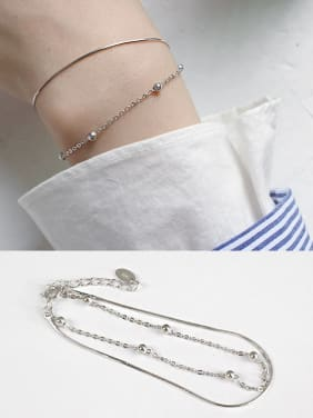 Sterling silver personality minimalism bead snake bone chain double bracelet
