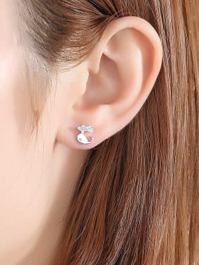 925 Sterling Silver With Cubic Zirconia  Cartoon dolphin Stud Earrings