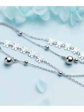 925 Sterling Silver With Silver Plated Fashion Double light bead Flower Bracelets
