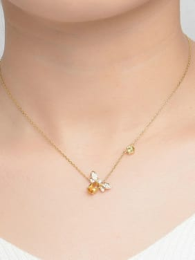 Natural Yellow Crystals Honeybee Clavicle Necklace
