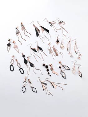 Stainless Steel With Rose Gold Plated Fashion Geometric  Tassels Drop Earrings