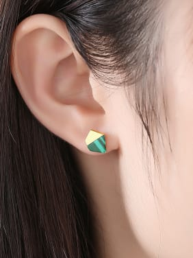 Copper With Turquoise  Simplistic Geometric Stud Earrings