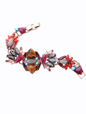 Retro Style Colorful Natural Stones Alloy Bracelet