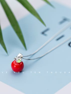 925 Sterling Silver With Platinum Plated Cute Friut apple chrismas Necklaces