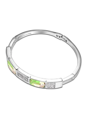 Simple Swarovski Crystals Alloy Platinum Plated Bangle