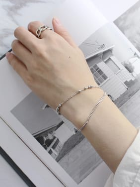 925 Sterling Silver With Platinum Plated Personality Double-layer ball chain Bracelets