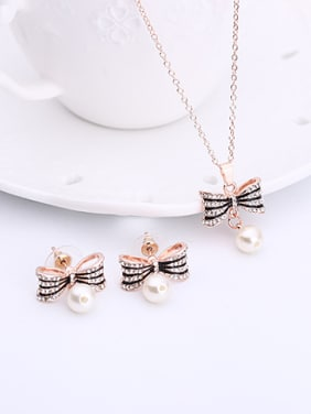 Alloy Rose Gold Plated Fashion Artificial Pearl Bowknot Two Pieces Jewelry Set