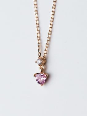 Elegant Heart Shaped Pink Zircon S925 Silver Necklace