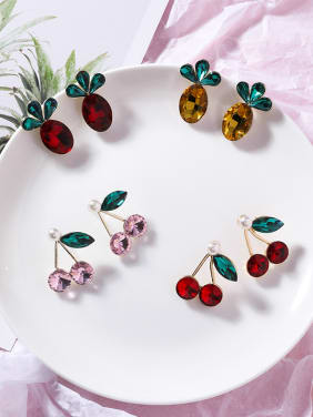 Alloy With Rose Gold Plated Fashion Friut Cherry Pineapple Stud Earrings
