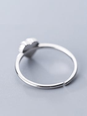925 Sterling Silver With Silver Plated Simplistic Heart Free Size Rings