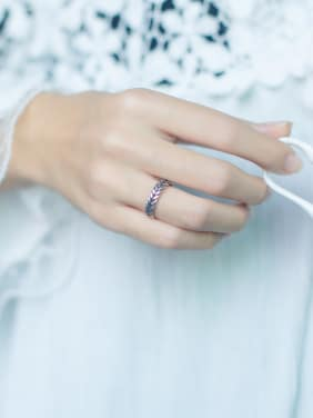 S925 Silver fashion weaving shape opening Midi Ring