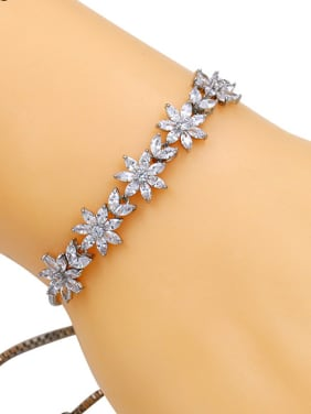 Copper With Cubic Zirconia Simplistic Flower Adjustable Bracelets