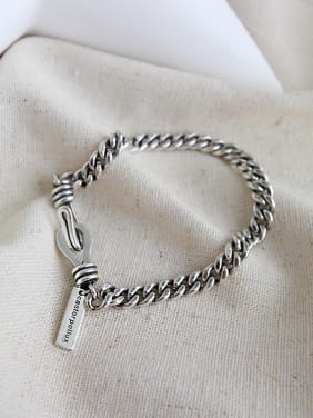 925 Sterling Silver With Antique Silver Plated  Chain Lovers Bracelets