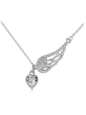 Fashion Angel Wing Heart Swarovski Crystals Alloy Necklace