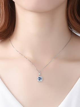 925 Sterling Silver With Platinum Plated Delicate Square Necklaces