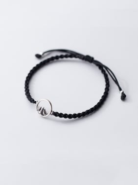 925 Sterling Silver With Platinum Plated Simplistic Round Braided rope Bracelets