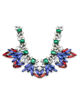Exaggerated Colorful Flower Alloy Necklace