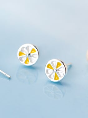 925 Sterling Silver With Platinum Plated Cute Lemon Slices  Stud Earrings