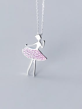 925 Sterling Silver With Cubic Zirconia Cute Angel Necklaces