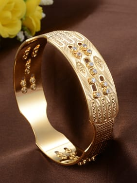 Luxurious Gold Plated Cubic Zirconias Copper Band Bracelet
