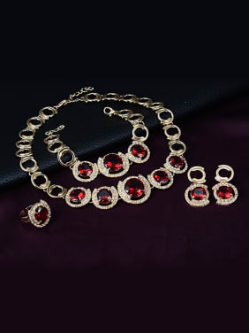 Alloy Imitation-gold Plated Vintage style Ruby and CZ Four Pieces Jewelry Set